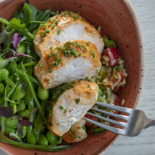 Healthy chicken and green bean salad