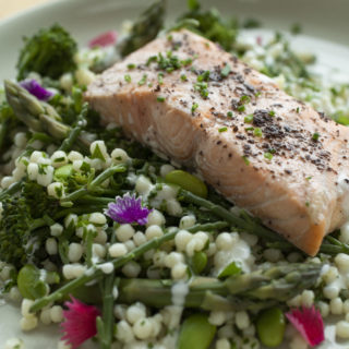 Healthy salmon and vegetables meal
