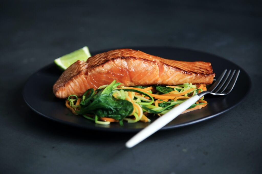 salmon steak to show protein macronutrient nutrtion