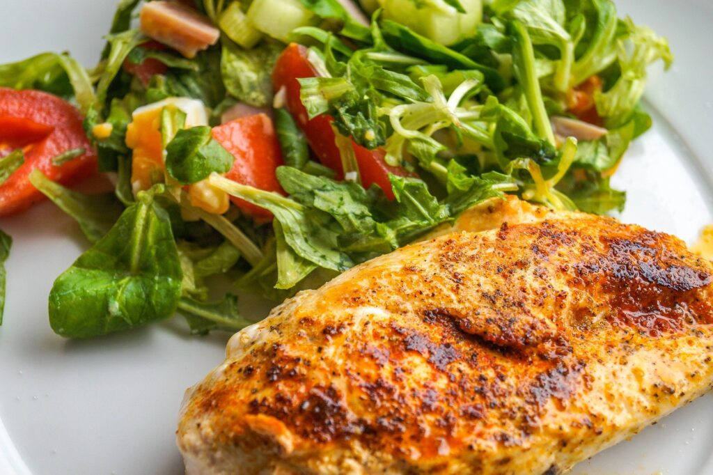 Chicken breast is lean meat with salad