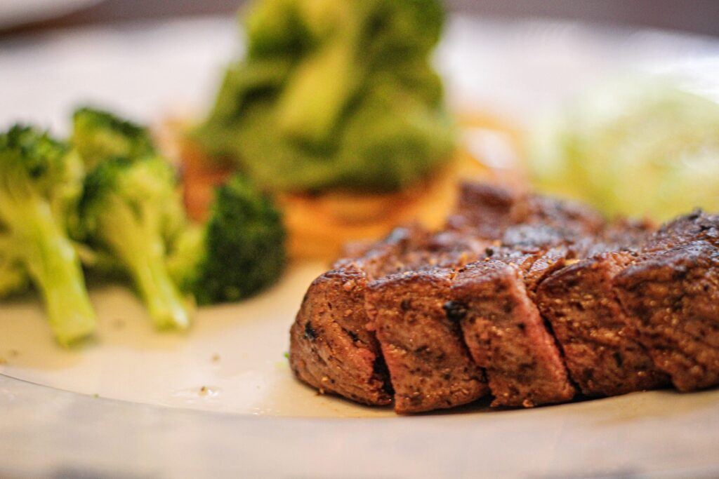 Sirloin steak as on a plate with vegetables